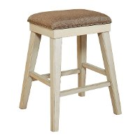 White and Weathered Brown Backless Counter Stool - Mystic Cay