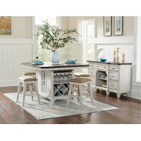 White and Weathered Brown 5 Piece Island Dining Set - Mystic Cay