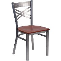 Metal Restaurant Chair - Cherry Wood Seat