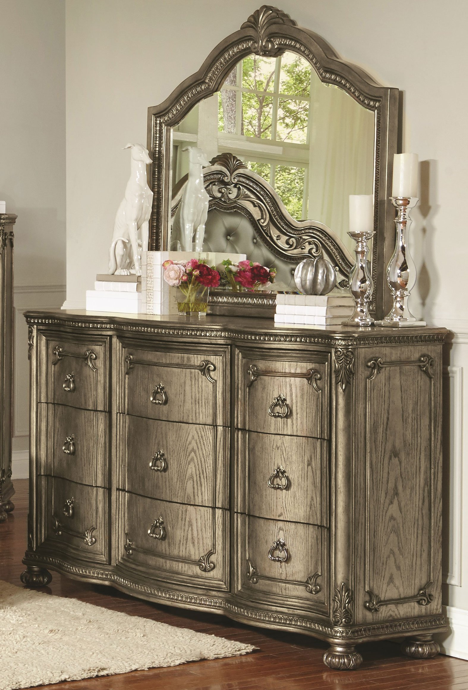 Traditional Platinum Gold Dresser   Seville