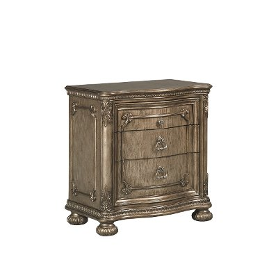Traditional Platinum Gold Nightstand - Seville