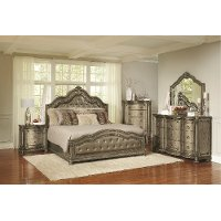 Traditional Platinum Gold 4 Piece Queen Bedroom Set - Seville