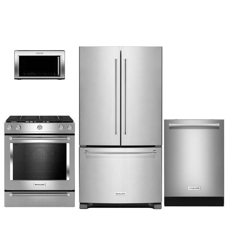 Kitchenaid 4 Piece Kitchen Liance Package With Gas Range Steam Rack Stainless Steel Rc Willey Furniture
