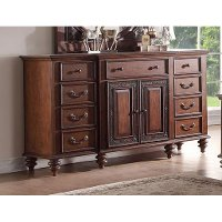 99090-351/DRESSER Traditional Pecan Brown Door Dresser - Emma's Garden