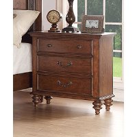 99090-402/NIGHTSTAND Traditional Pecan Brown Nightstand - Emma's Garden