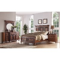 6PC:99090/EMMAS5/0 Traditional Pecan Brown 6 Piece Queen Bedroom Set - Emma's Garden