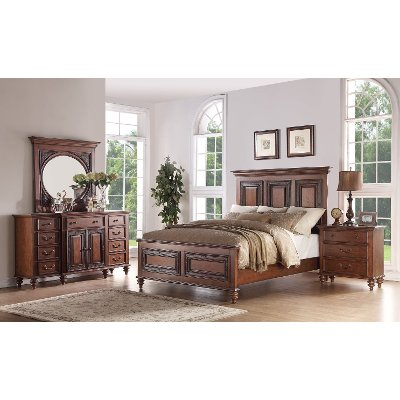 Traditional Pecan Brown 6 Piece Queen Bedroom Set - Emma\'s Garden ...