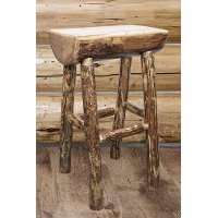 MWGCBNHL24  Counter Height Half Log Bar Stool - Glacier