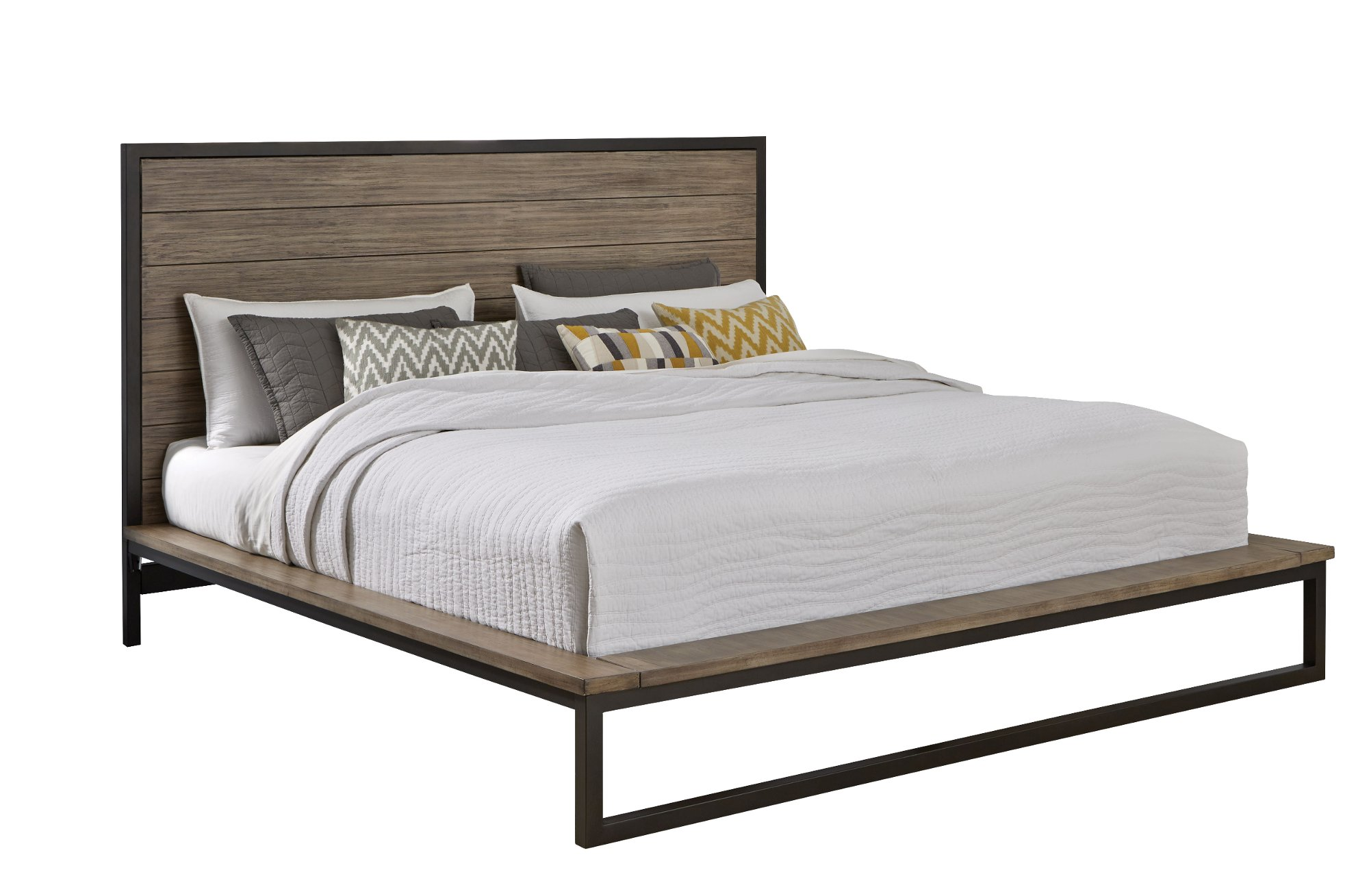 industrial modern pine metal 6 piece king bedroom set edgewood rc willey furniture store. Black Bedroom Furniture Sets. Home Design Ideas