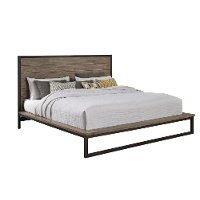 Industrial Modern Pine & Metal King Platform Bed - Edgewood