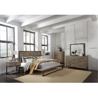 Industrial Modern Pine & Metal 6 Piece King Bedroom Set - Edgewood