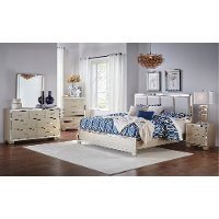 Contemporary Silver Satin 6 Piece Queen Bedroom Set - Divine