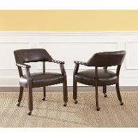 Dark Brown Dining Arm Chair With Casters Morris Rc Willey Furniture Store