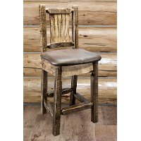 MWHCBSWSNRSLSADD24 Counter Height Barstool w/ Back & Swivel - Saddle Upholstery