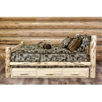 MWSBFV Rustic Clear Lacquered Log Full Size Storage Bed  - Montana
