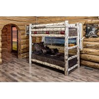 MWBBNV Clear Lacquered Log Twin over Twin Bunk Bed - Montana