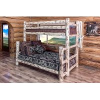 MWBBTFNV Clear Lacqured Log Twin-over-Full Bunk Bed - Montana