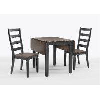 Black and Charcoal Brown 3 Piece Drop Leaf Dining Set - Glennwood