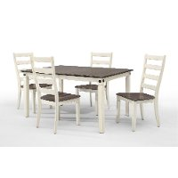 White and Charcoal Brown 5 Piece Dining Set - Glennwood