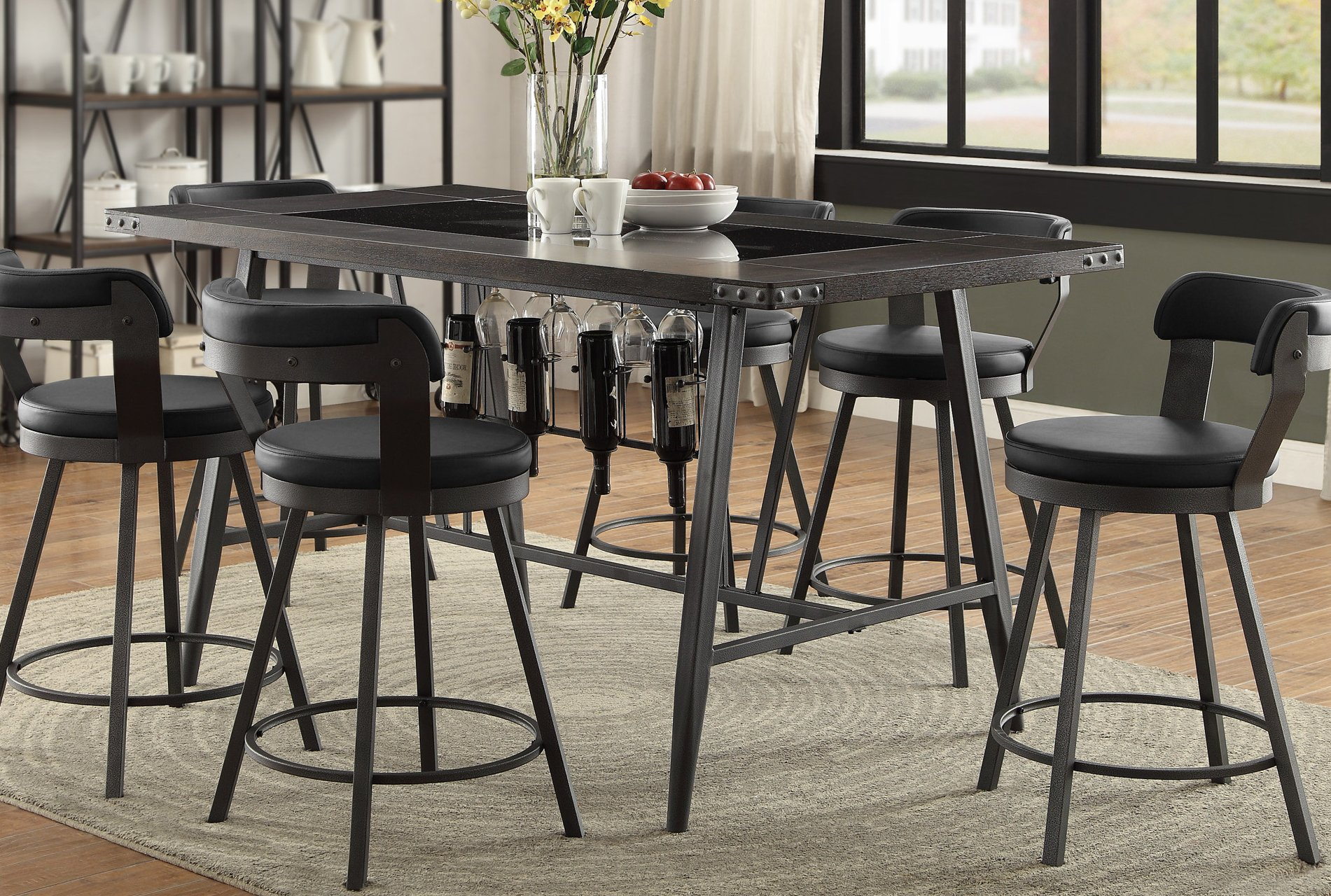 Metal and Glass 5 Piece Counter Height Dining Set Appert