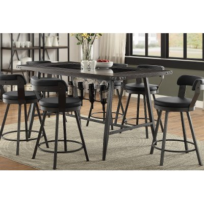 Metal, Wood And Glass Counter Height Dining Table   Appert