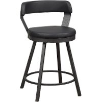 Matte Black Modern Swivel Counter Height Stool - Appert