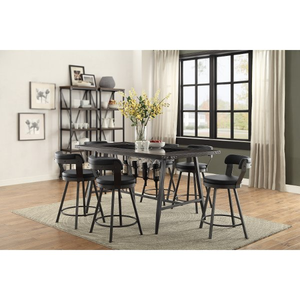 ... Metal And Glass 5 Piece Counter Height Dining Set   Appert ...