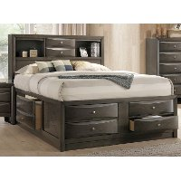 Contemporary Gray King Size Storage Bed - Emily