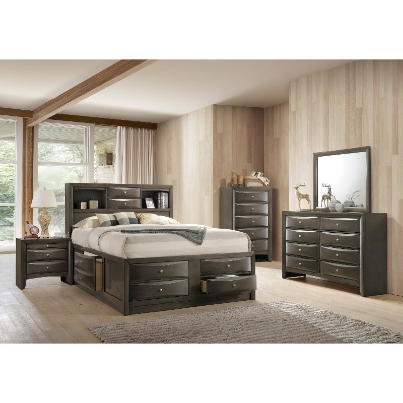 Contemporary Gray 4 Piece Queen Bedroom Set Emily Rc Willey Furniture Store