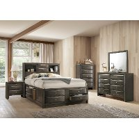 Contemporary Gray 4 Piece King Bedroom Set - Emily