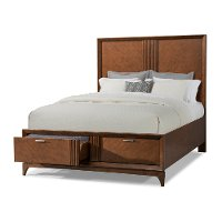 Brown Cherry Mid-Century Modern Queen Storage Bed - Simply Urban