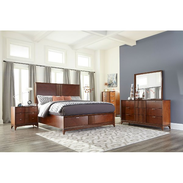 Clearance Brown Modern 6 Piece King Bedroom Set Simply Urban