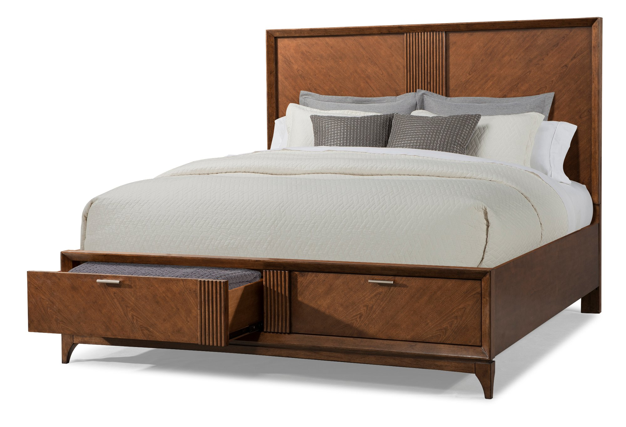 Brown Cherry Mid Century Modern 6 Piece California King Bedroom Set