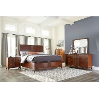 Brown Cherry Mid-Century Modern 4 Piece California King Bedroom Set - Simply Urban