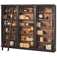 4 Piece Two Tone Brown Bookcase Wall - Toulouse