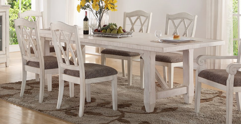 Brushed White 5 Piece Dining Set Scottsdale Rc Willey Furniture Store