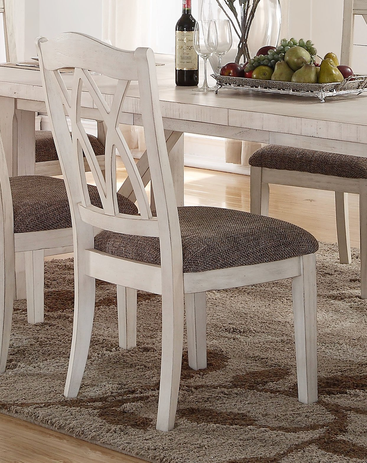 Brushed White 5 Piece Dining Set Scottsdale