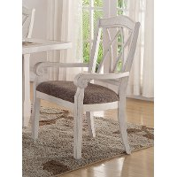 Brushed White Lattice Back Dining Arm Chair - Scottsdale Collection