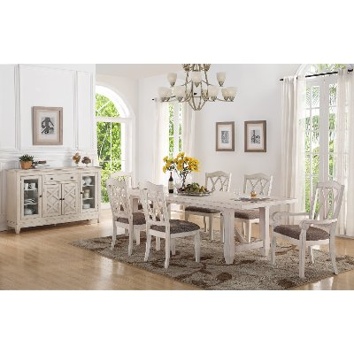 Brushed White 5 Piece Dining Set   Scottsdale Collection