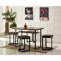 Metal and Wood 5 Piece Counter Height Dining Set - Eli Collection