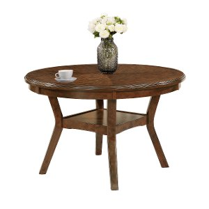 Brown Traditional Round Dining Table