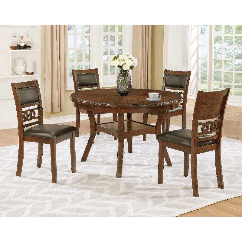 Brown Traditional 5 Piece Round Dining Set Cally