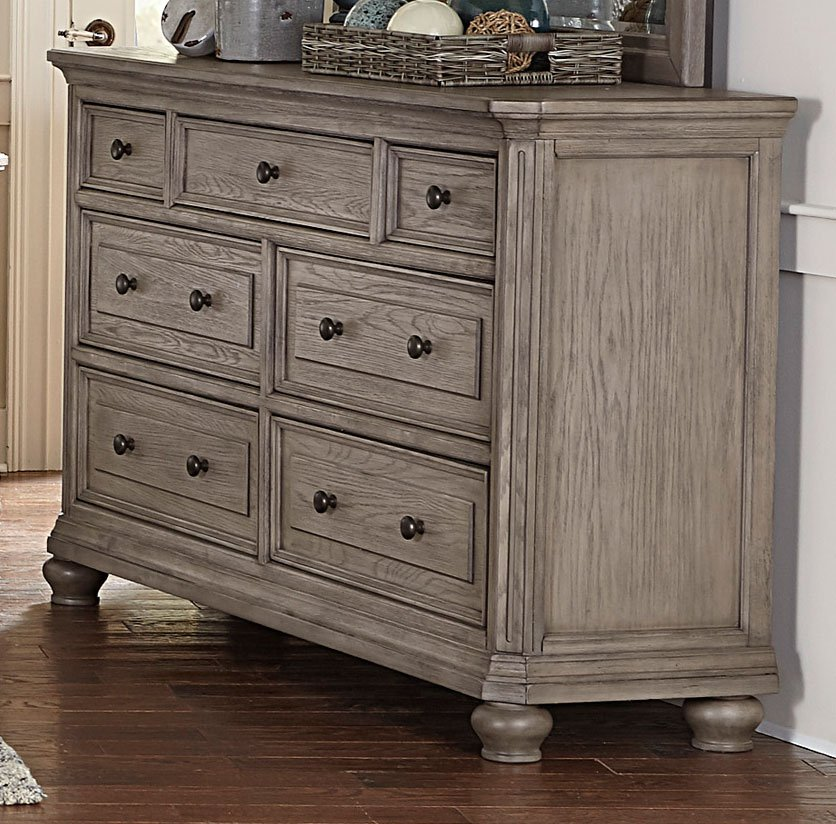 traditional gray oak 6 piece king bedroom set  lavonia