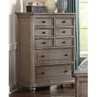 Traditional Gray Oak Chest of Drawers - Lavonia