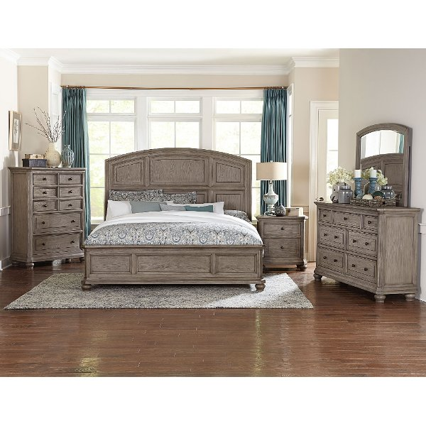 ... Traditional Gray Oak 6 Piece California King Bedroom Set   Lavonia