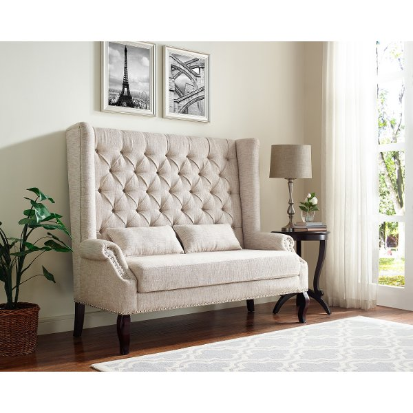 Magnolia Home Furniture Chimney Chair   Farmhouse19999 Beige Upholstered  Banquette   Kaylee
