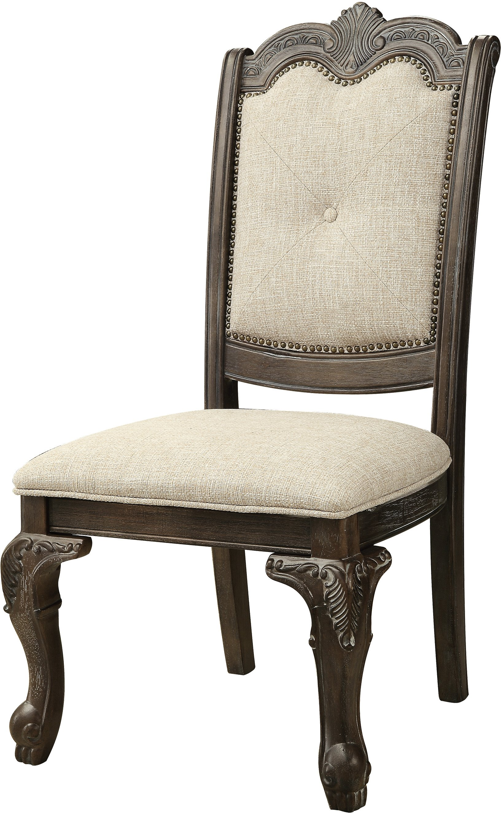 Washed Gray And Beige Upholstered Dining Chair   Kiera Collection