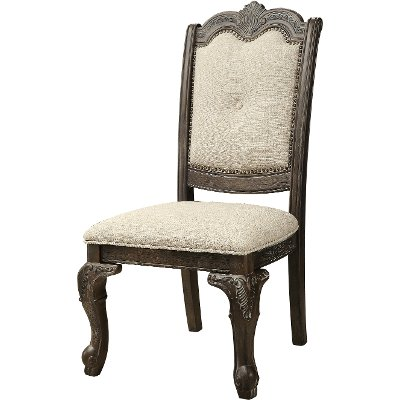 Washed Gray and Beige Upholstered Dining Chair - Kiera Collection