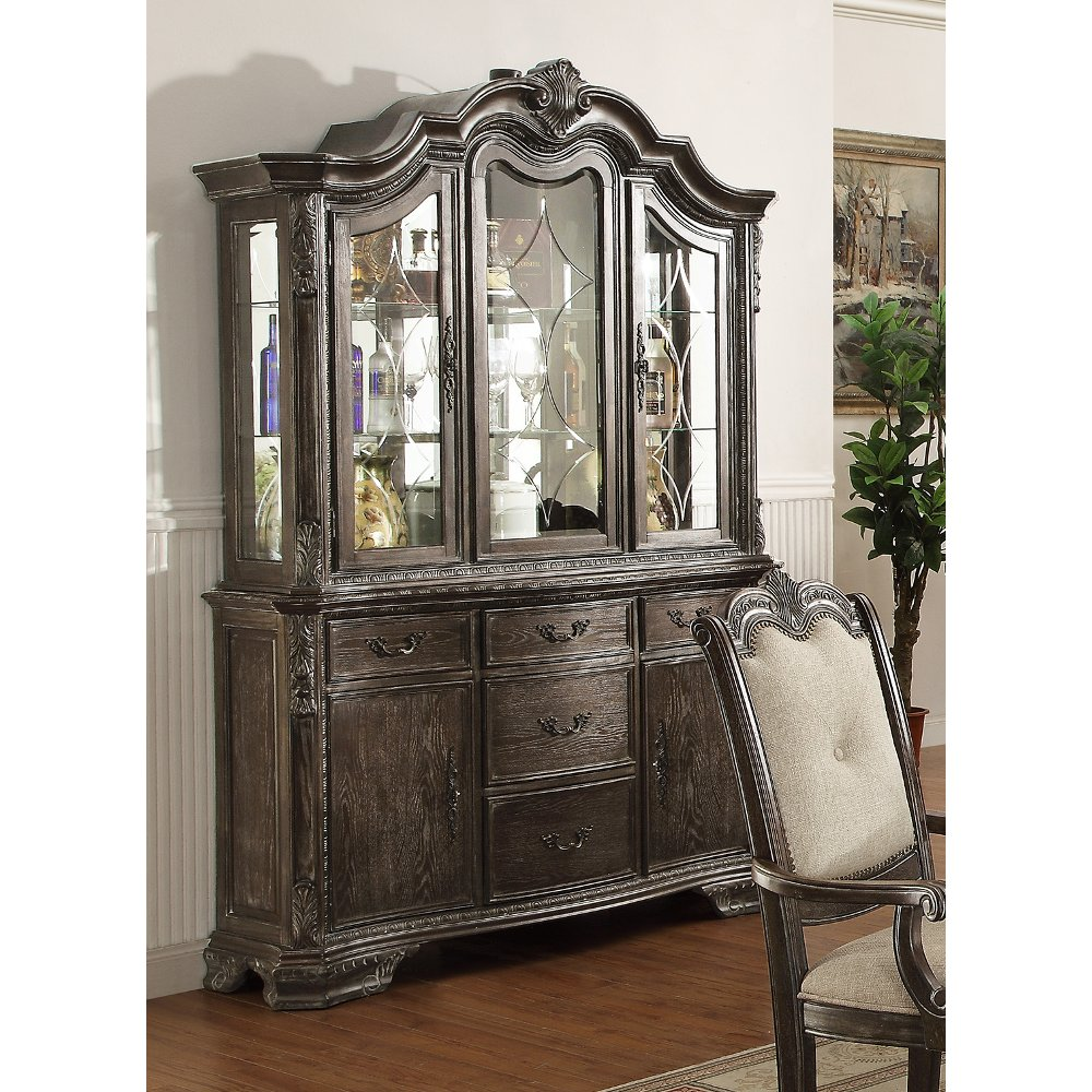 washed gray old world china hutch kiera collection
