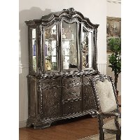 Washed Gray Old World China Hutch - Kiera Collection